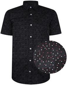 Bigdude Short Sleeve Cotton Woven Shirt Black/Red Tall