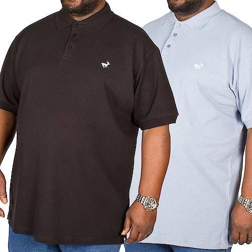 Bigdude besticktes Poloshirt im Doppelpack Schwarz / Blau