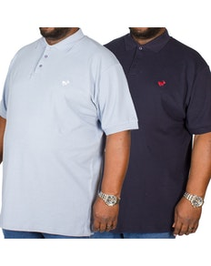 Bigdude besticktes Poloshirt im Doppelpack Blau / Marineblau