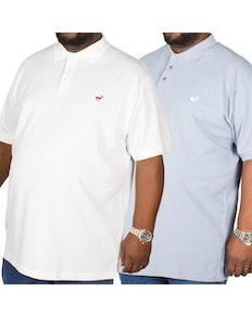 Bigdude besticktes Poloshirt im Doppelpack Blau / Weiß