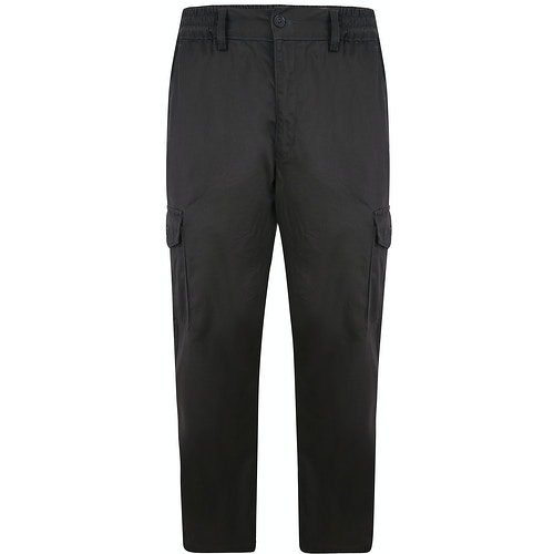 Bigdude Elasticated Waist Cargo Trousers Charcoal
