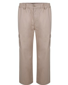 Bigdude Elasticated Waist Cargo Trousers Sand