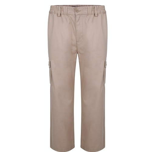 Bigdude Elasticated Waist Cargo Trousers Sand