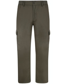 Bigdude Elasticated Waist Cargo Trousers Dark Khaki