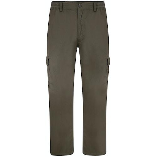 Bigdude Elasticated Waist Cargo Trousers Dark Khaki