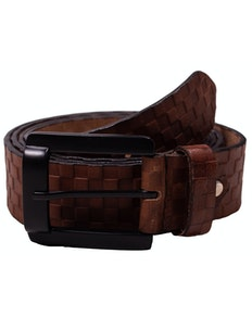Lucas Leather Checked Belt Brown