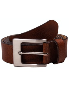 Richard Leather Structure Belt Mid-Brown