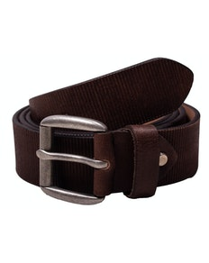 Lewis Leather Structured Belt Dark Brown