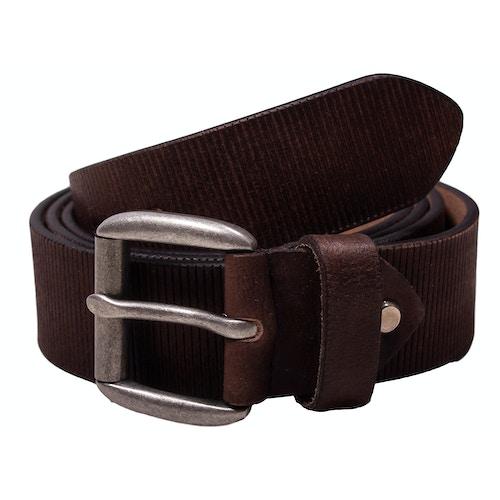 Lewis Leather Structured Belt Dark Brown