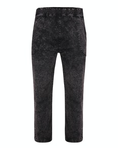 Bigdude Acid Wash Elasticated Waist Stretch Jeans Black