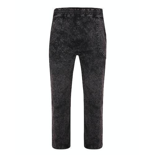 Bigdude Acid Wash Elasticated Waist Stretch Jeans Black