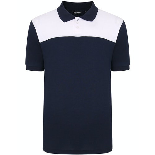 Bigdude zweifarbiges Poloshirt Blau/Weiß