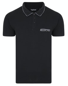 Bigdude Woven Pocket Polo Shirt Black
