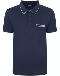 Bigdude Woven Pocket Polo Shirt Navy Tall