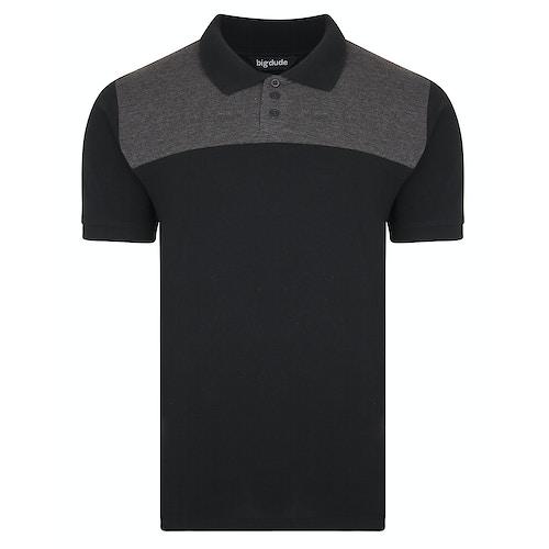 Bigdude zweifarbiges Poloshirt Schwarz/Grau