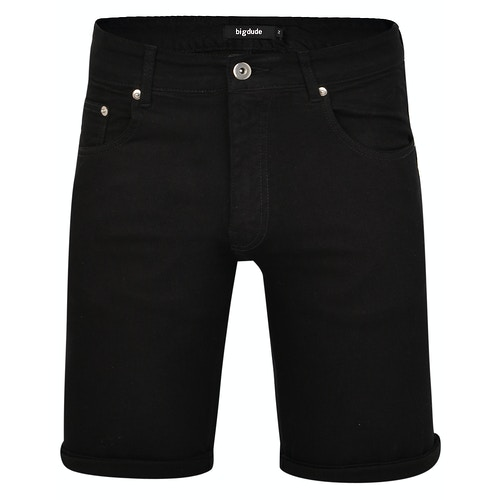 Bigdude Stretch Jeans Shorts Schwarz
