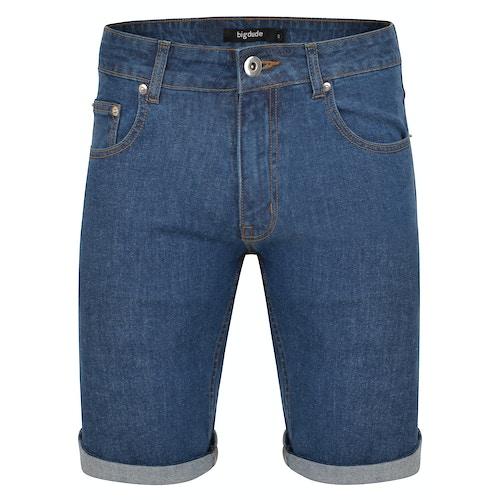 Bigdude Stretch Denim Shorts Mid Wash