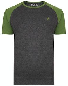 Bigdude Kontrast Raglan T-Shirt Grau/Grün Tall Fit