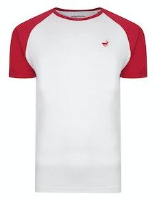 Bigdude Contrast Raglan Sleeve T-Shirt White/Red