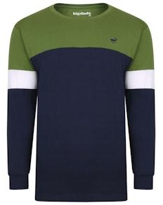 Bigdude dreifarbiges Langarm T-Shirt Grün/Marineblau Tall Fit