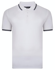 Bigdude Tipped Pique Polo Shirt White Tall
