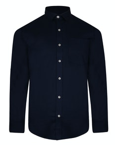 Bigdude Fine Twill Long Sleeve Shirt Navy Tall