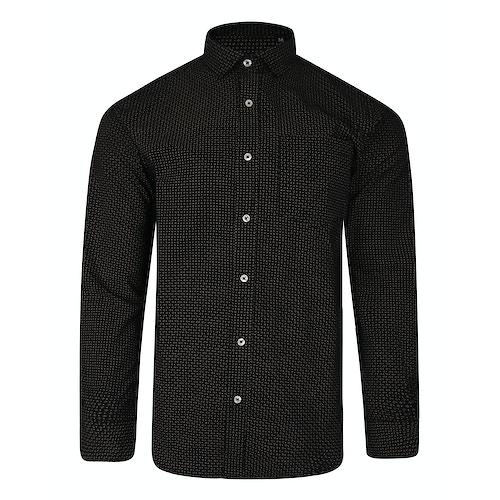Bigdude Long Sleeve Dobby Print Shirt Black