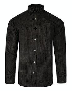 Bigdude Long Sleeve Dobby Print Shirt Black Tall