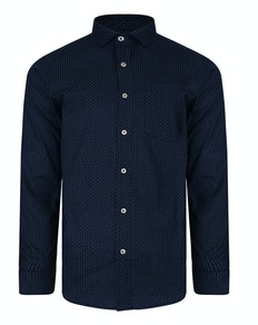 Bigdude Langarm Dobby Muster Hemd Marineblau