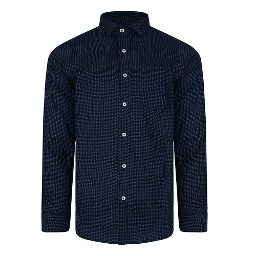 Bigdude Long Sleeve Dobby Print Shirt Navy Tall