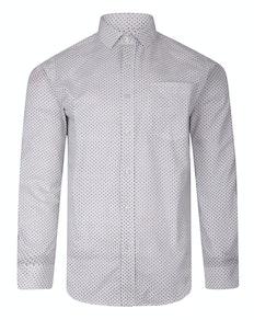 Bigdude Langarm Dobby Muster Hemd Weiß