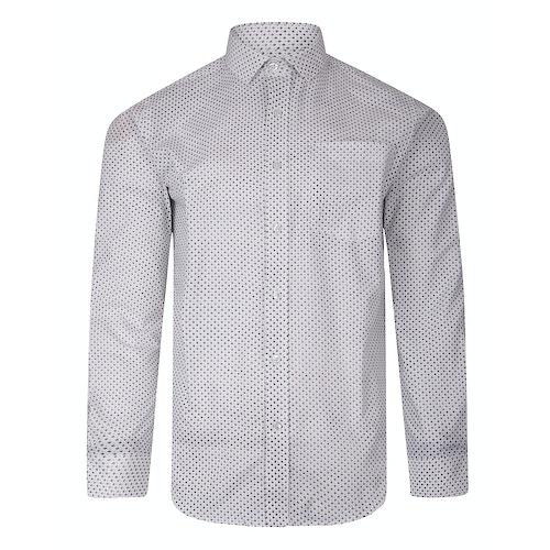 Bigdude Long Sleeve Dobby Print Shirt White Tall