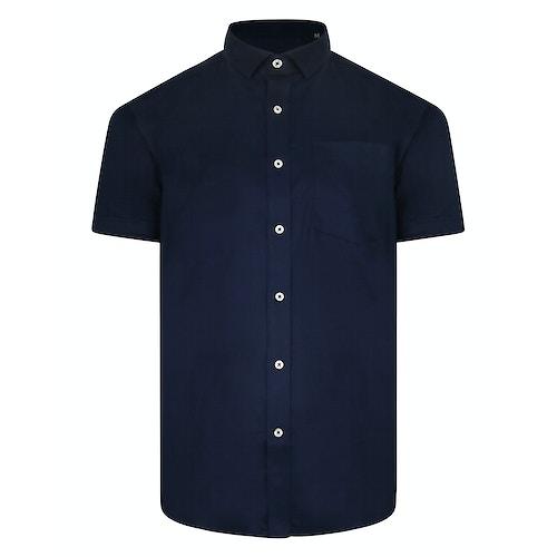 Bigdude Fine Twill Short Sleeve Shirt Navy Tall