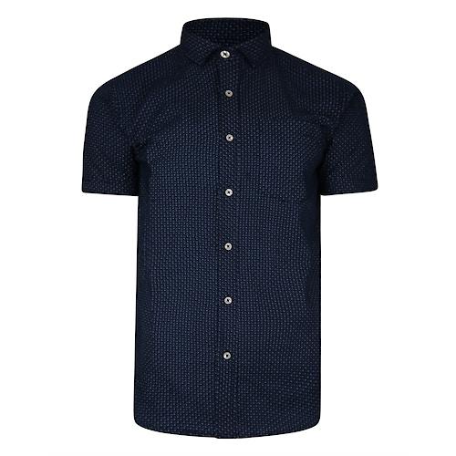Bigdude Kurzarm Dobby Muster Hemd Marineblau Tall Fit
