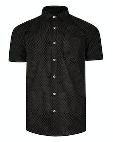 Bigdude Kurzarm Dobby Muster Hemd Schwarz