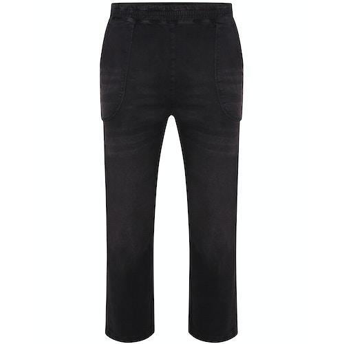 Bigdude Washed Elasticated Waist Stretch Jeans Black