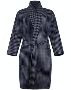 Bigdude Woven Check Dressing Gown Navy/Grey