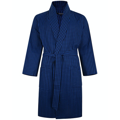 Bigdude Woven Check Dressing Gown Royal Blue