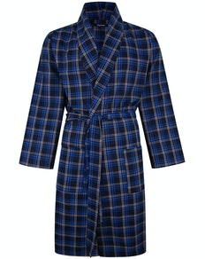 Bigdude Woven Check Dressing Gown New Royal/Navy