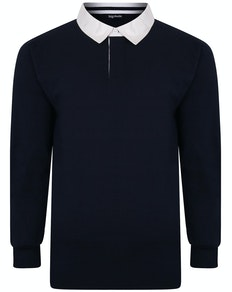 Bigdude Rugby Style Long Sleeve Polo Shirt Navy