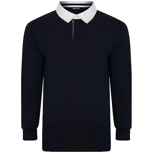Bigdude Rugby Style Long Sleeve Polo Shirt Navy
