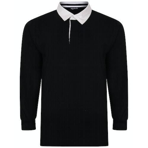 Bigdude Rugby Style Long Sleeve Polo Shirt Black