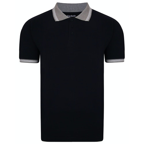 Bigdude Contrast Tipped Polo Shirt Navy
