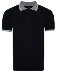Bigdude Contrast Tipped Polo Shirt Black Tall