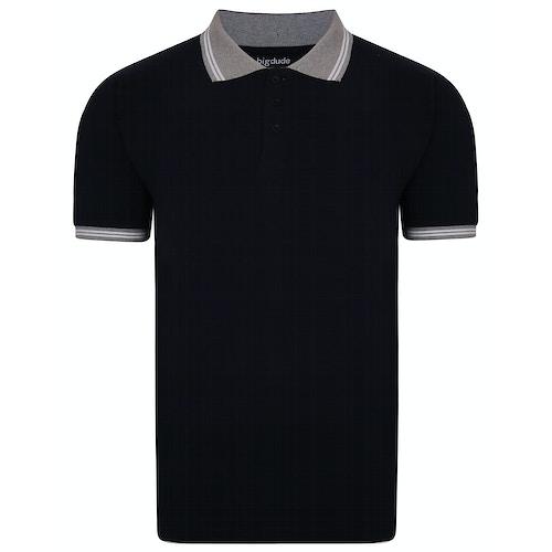 Bigdude Contrast Tipped Polo Shirt Black Tall