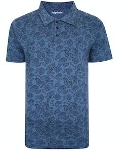 Bigdude Paisley Print Poloshirt Jeansblau