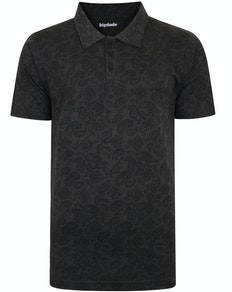 Bigdude All Over Paisley Print Polo Shirt Charcoal Marl