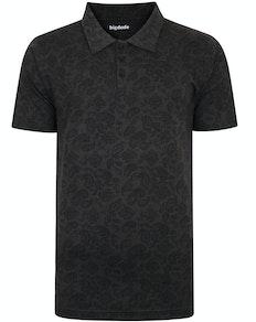 Bigdude Paisley Print Poloshirt Grau