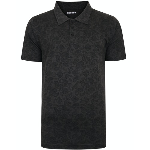 Bigdude All Over Paisley Print Polo Shirt Charcoal Marl