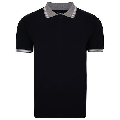 Bigdude Contrast Tipped Polo Shirt Navy Tall